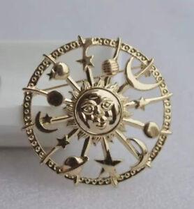 Aztec Celestial Galaxy Vintage Gold Pin Brooch D-5815