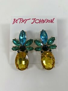 Betsey Johnson Pineapple Rhinestone Crystal Earrings New Green Yellow NWT