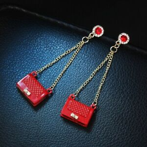 Fashion Exaggerated Red Purse Tassel Drop Dangle Earrings