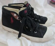 POLO RALPH LAUREN men's high top sneakers size 10.5 D leather canvas black