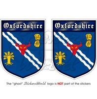 """OXFORDSHIRE Oxford English Oxonian Shield Bumper Stickers-Decals 75mm(3"""") x2"""