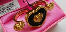Betsey Johnson $85 Status Black Enamel GoldTone Heart 2 Finger Ring (65% off)