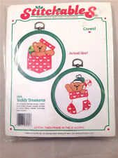 NEW CHRISTMAS ORNAMENT CROSS STITCH Stitchables Teddy Treasures Free Shipping