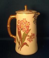 Antique 19th century Royal Worcester Porcelain Tea Coffee Pot Botanical