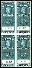 Canada 1938 50c Blue Law Stamp Revenue van Dam FSC 25 Gem Block of 4