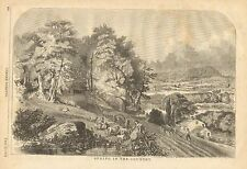 Farm Scene, Sheep, Lamb, Spring In The Country, Vintage 1858 Antique Art Print