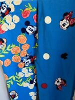 NWT X2 LuLaRoe Disney Leggings Minnie Mouse Mickey Blue Floral Black Tween L/XL