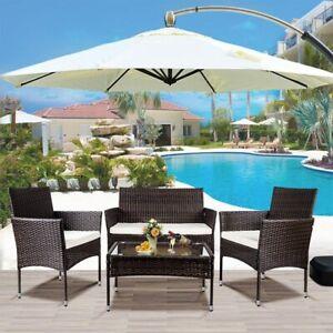 4 PCS Outdoor Garden Patio Furniture Set Cushion Rattan Wicker Chair Bistro Set