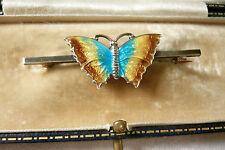 Joyas Vintage Estilo Art Deco Plata Esmalte Mariposa Insecto Bug Broche Pin