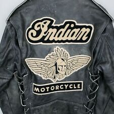 USA Vintage Indian Motorcycle Leather Jacket w Patch - Distressed - Size Medium