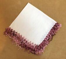 Vintage Ladies Hanky, Handkerchief, White, Cotton, Crocheted Edges, Pink