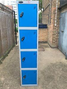 4 door Metal Lockers Steel Staff Storage Locker Office Furniture School Gym Blue