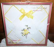 Vtg NIP 2 Pc St. Ramon Se Paris Womens Hankies Handkerchiefs Floral Embroidered