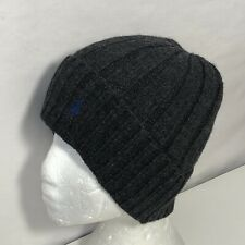 *Polo Ralph Lauren Mens Beanie Wool Blend Logo Wide Rib Knit Cuffed Gray Blue