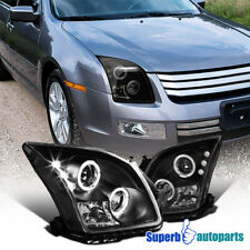 2006-2009 Ford Fusion Led Halo Rim Projector Headlights Black SpecD Tuning