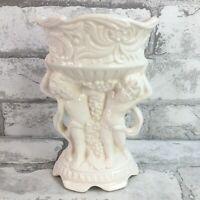 Vintage Relpo Small Twin Cherub White Planter Vase Grapevine Ceramic Victorian