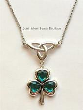 Silver Green Shamrock Necklace Irish Clover Celtic Trinity Knot St. Patricks Day