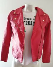 FOREVER 21 F21 RED LEATHER ZIP JACKET KIDS SIZE 11-12 PRE-OWNED