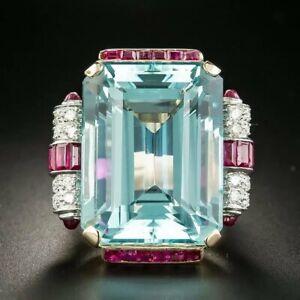 50ct Emerald-cut Aquamarine Ring Estate Size 7 14k Yellow Gold Plated Pink CZ