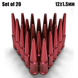 """4.5"""" Spike Lug Nuts 12x1.5 fit S10 Corvette Camaro Blazer CTS DTS STS Red 5RD1"""