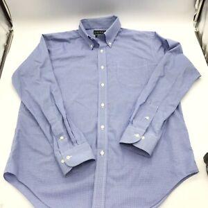 Ralph Lauren Mens 16 34/35  Long Sleeve Dress Shirt Non Iron Blue Check Cotton