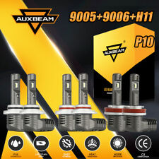 AUXBEAM F-P10 9005+9006+H11 156W LED Headlight Hi Lo Bulb Fog Lights 6000K Combo
