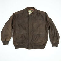 ORVIS Leather Bomber Jacket Mens XL Brown Fly Fishing Schools