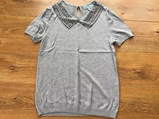 Ladies Grey Short Sleeved Jumper With Embellished Neckline Size 12 Next