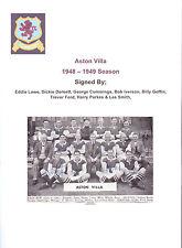 ASTON Villa 1948-1949 rare main signé team group 8 x Sigs incl d blanchflower