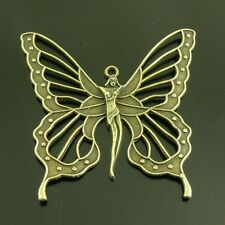 5X Vintage Style Bronze Tone Butterfly Fairy Elf Pendant Charms New 61*58*3mm