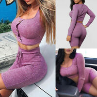 Women 2 Piece Casual Short Sleeve Outfits Crop Top Pants Set Jumpsuit Rompers SH