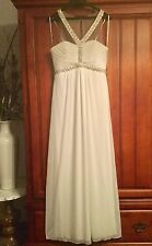 sexy NEW white chiffon FORMAL DRESS gown sheer lillusion rhinestones prom 11 M