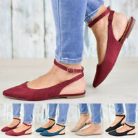 Women's Buckle Strap Pointed Toe Sandals Slingbacks Ankle Strap Flats Shoes Size