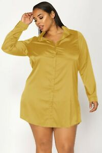 Women Light Gold Satin Plus Size Shirt Long Blouse Solid Collar Casual Party Top
