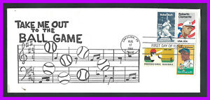 """ROBERTO CLEMENTE: FDC - fun cachet """"Take me out to the ballgame"""" - 4 stamps"""