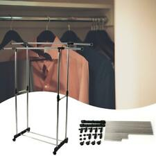 Dual-Bar Clothing Stretching Hanging Stand Coat Clothes Hanger Rack Shelf