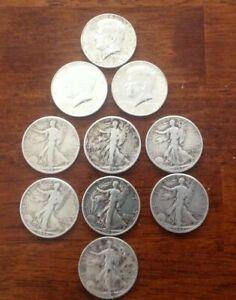 Lot of 10 Mixed U.S. 90% Silver Half Dollars CIRC