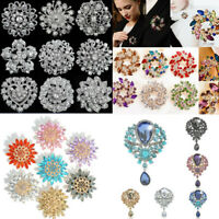 Women Glitter Rhinestone Crystal Flower Wedding Bridal Bouquet Brooch Pin Gift