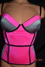 NWT Victorias Secret Lingerie, Corset Bustier Color-block Pink Grey Ret. $68 34c