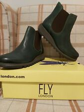 Fly London Salv Womens Ladies Petrol Leather Wedge Chelsea Ankle Boots Size UK 6
