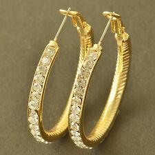 Stunning 9K yellow Gold Plate crystal Crystal Womens Hoop Earrings,Z5399