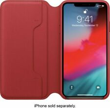 Apple - iPhone Xs Max Leather Folio  (PRODUCT)RED MRX32ZM/A - Ships Free