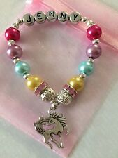 Personalised Unicorn/Horse Bracelet, Girls Birthday Party/Easter Gift With Bag