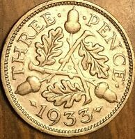 1933 UK GREAT BRITAIN SILVER THREEPENCE