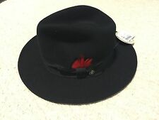 NEW STETSON Made In USA Dri-Lex Crushable Black 100% Wool Fedora HAT Size Small
