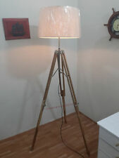 VINTAGE Teak Wood Tripod FLOOR LAMP TRANSIT Shade Light Fixture antique Lamp