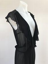 DRIES VAN NOTEN Black Sheer Wrap Sleeveless Dress Jacket SIZE 36