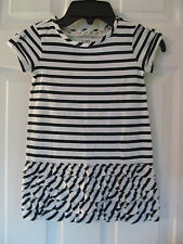 NWT Baby Girls Joe Fresh Short Sleeve Navy, White Striped Ruffled dress sz 3
