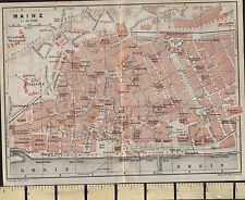 1925 GERMAN MAP ~ MAINZ CITY PLAN WITH PUBLIC BUILDINGS HOSPITALS MUSEUM STATION