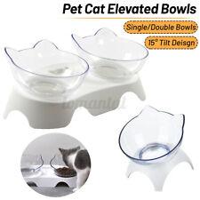 Single/Double Dog Cat Pet Bowl Feeder 15° Tilt Cat Shape Food Pot Dishes Drinker